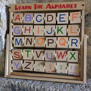 "Vintage ""Learn the Alphabet"" Wood Flip Letter Toy"